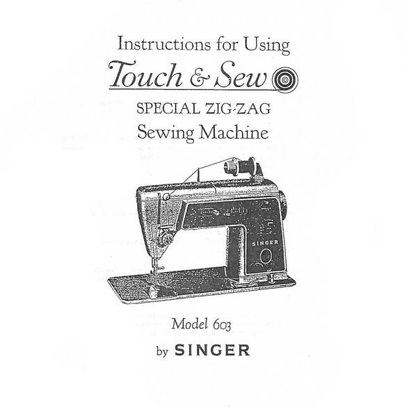Instruction Manual, Singer 603