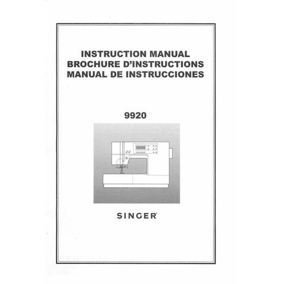 Instruction Manual, Singer 9920