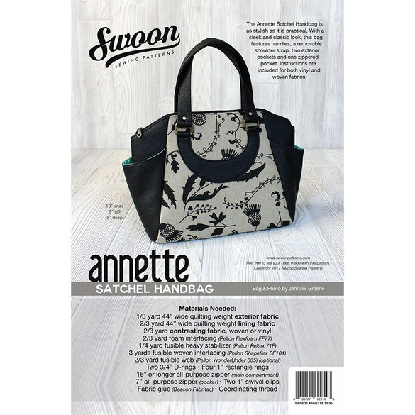 Swoon, Annette Satchel Handbag Pattern