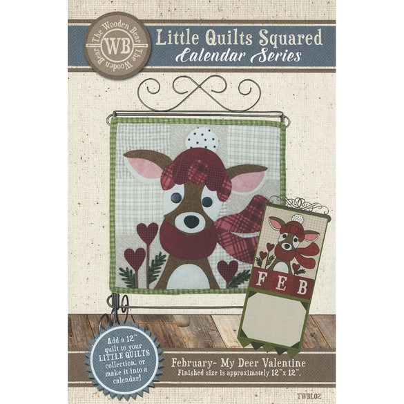 Little Quilts Squared Pattern, February, My Deer Valentine