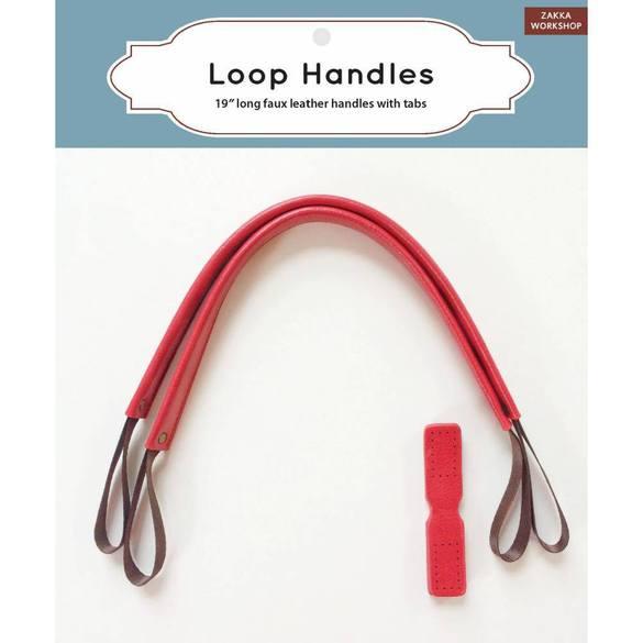"19"" Faux Leather Bag Handles, Red, Zakka Workshop"