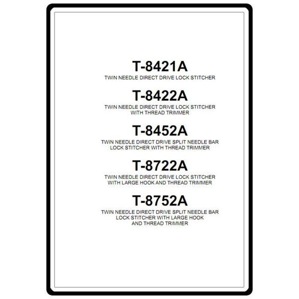 Instruction Manual, Brother T-8452A