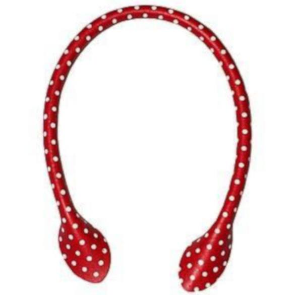 "Inazuma 16"" Polka Dot Faux Leather Purse Handles - Red"