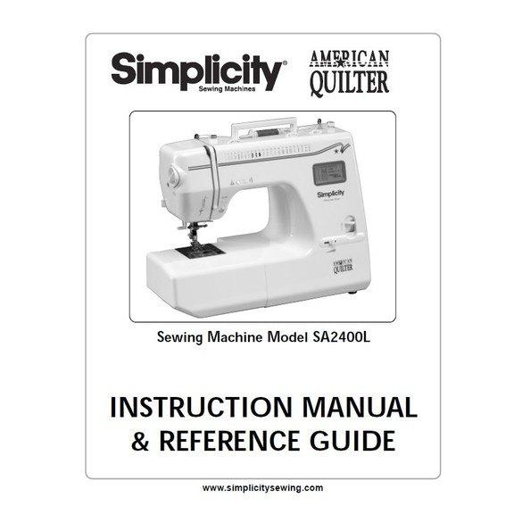 Instruction Manual, Simplicity SA2400L