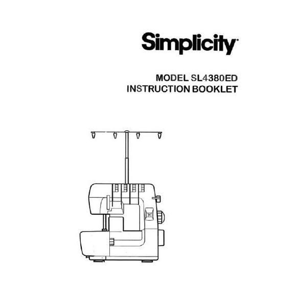 Instruction Manual, Simplicity SL4380ED