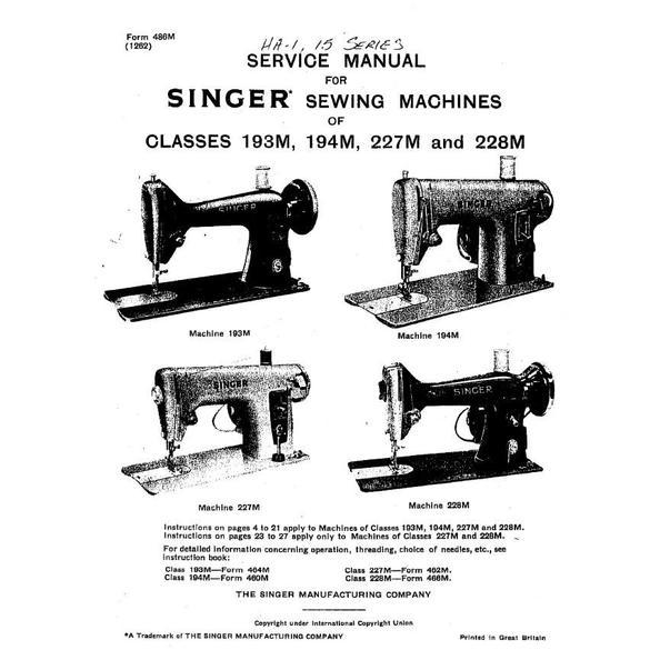 Service Manual, Singer 15