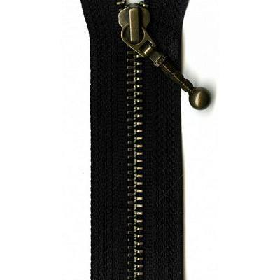 Antique Brass Separating Zipper, YKK #36, Black 26in