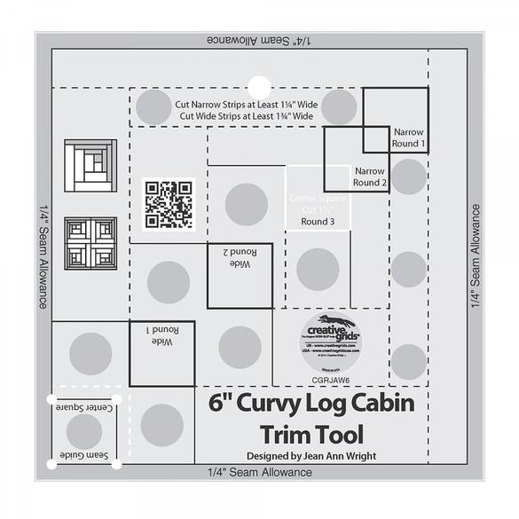 "Curvy Log Cabin Trim Tool 6"" Finished Blocks, Creative Grids"