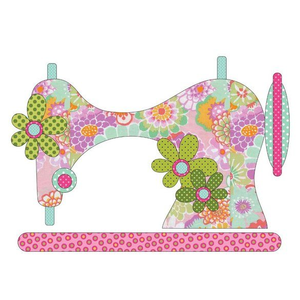 Vintage Stitches Pink Sewing Machine Applique Pieces - 15in x 10-1/2in