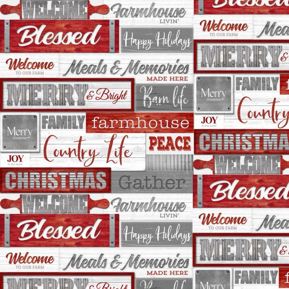 Christmas Words.Holiday Homestead Christmas Words Fabric Red Gray