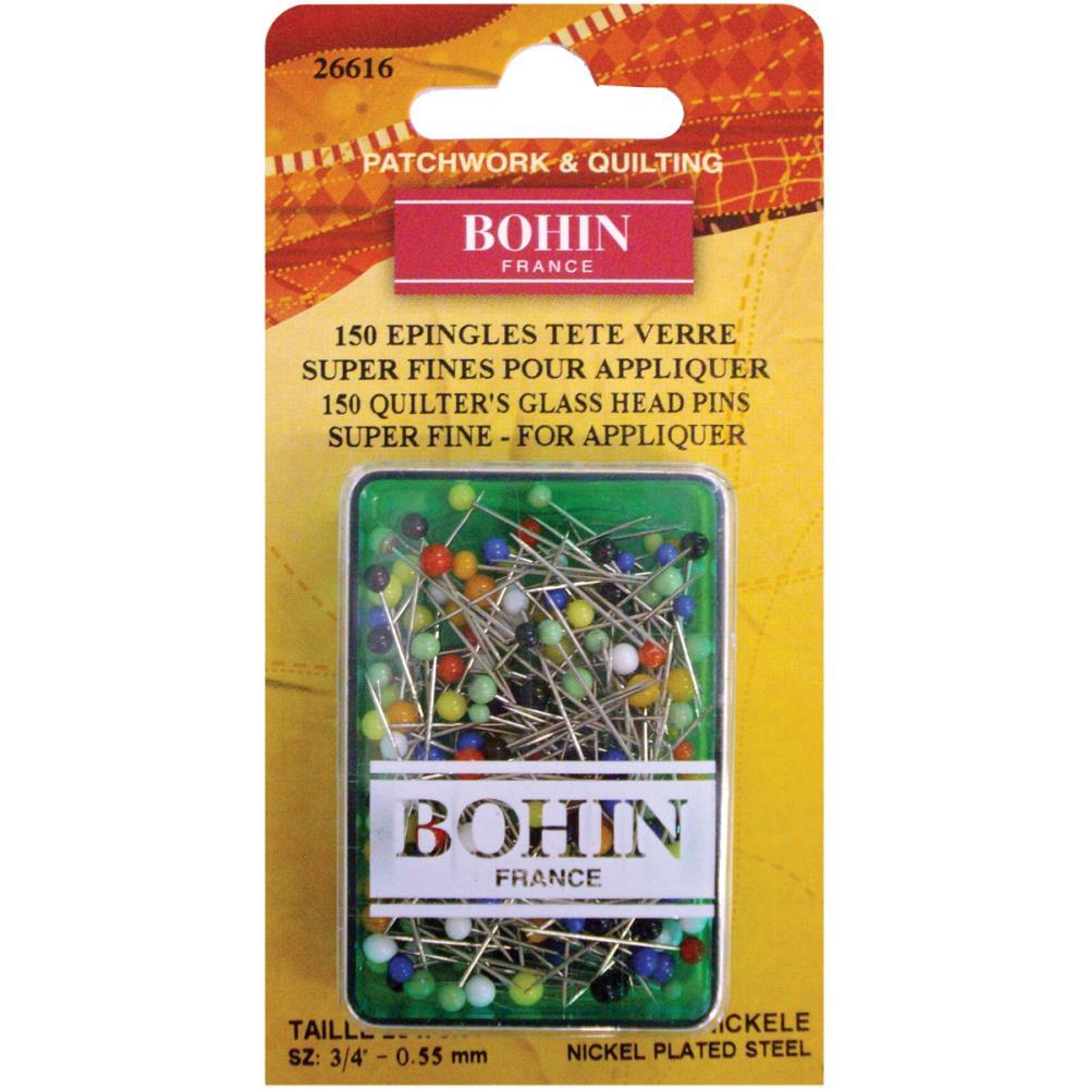150 Per Pack Bohin Glass Head Applique Pins