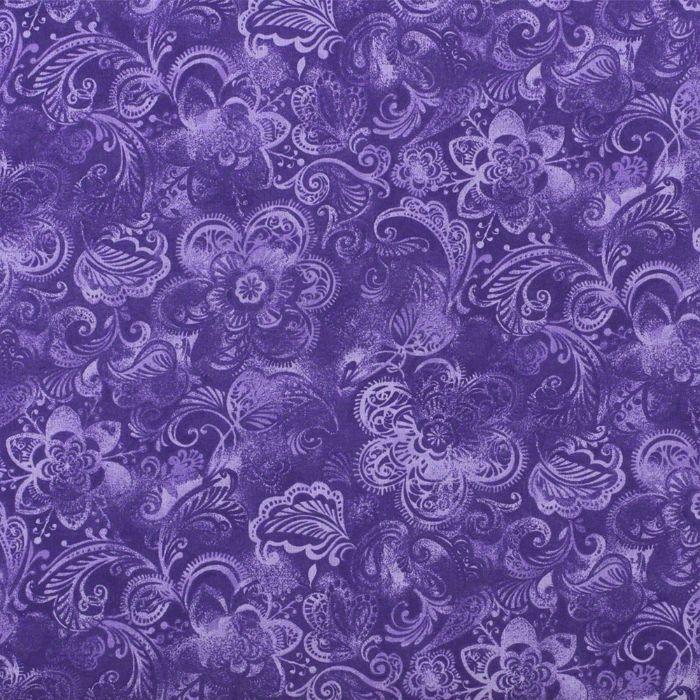 Floral Quilt Backing Fabric 108in Deep Purple Sewing