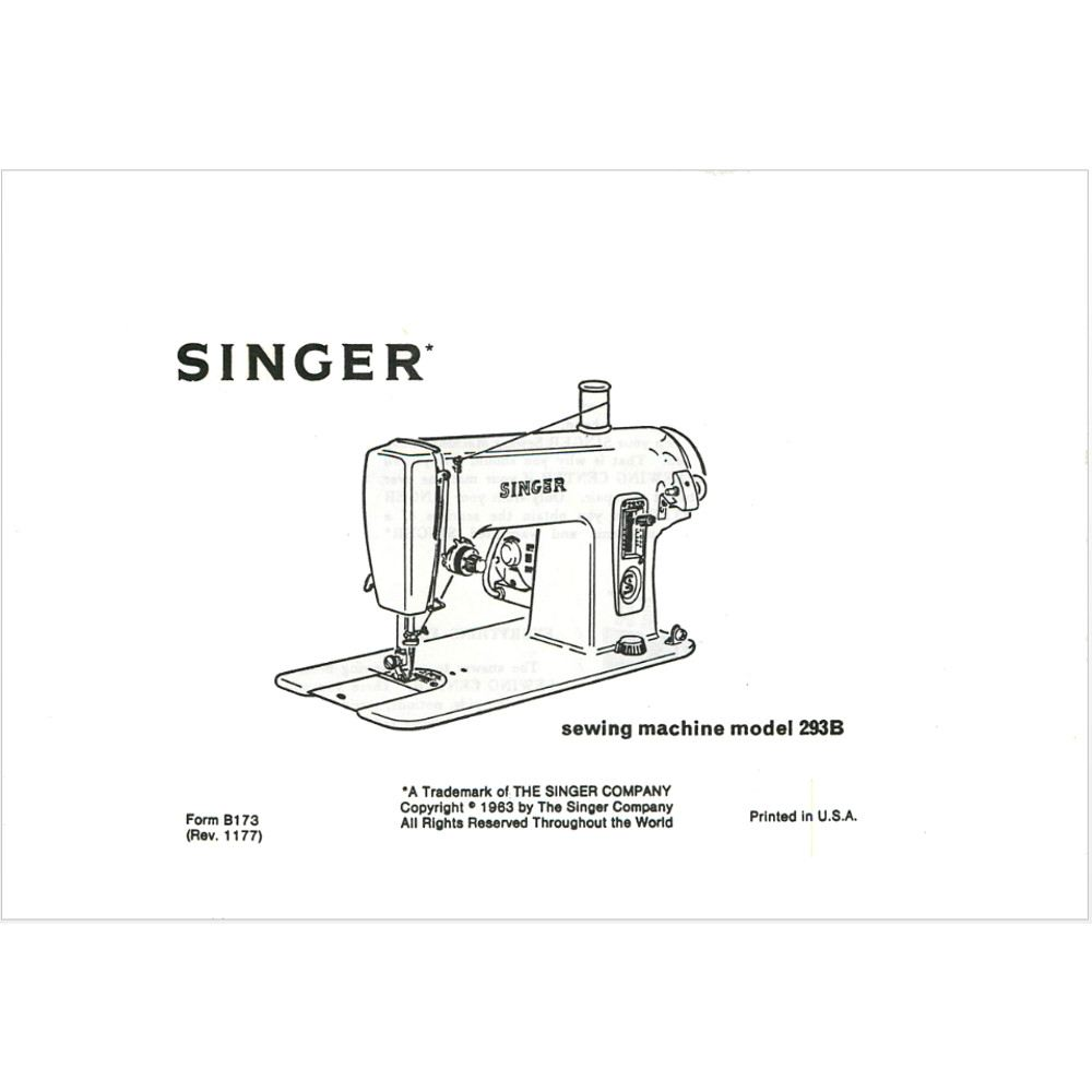 Instruction Manual Singer 293b Sewing Parts Online Brother Machine Diagram Ims