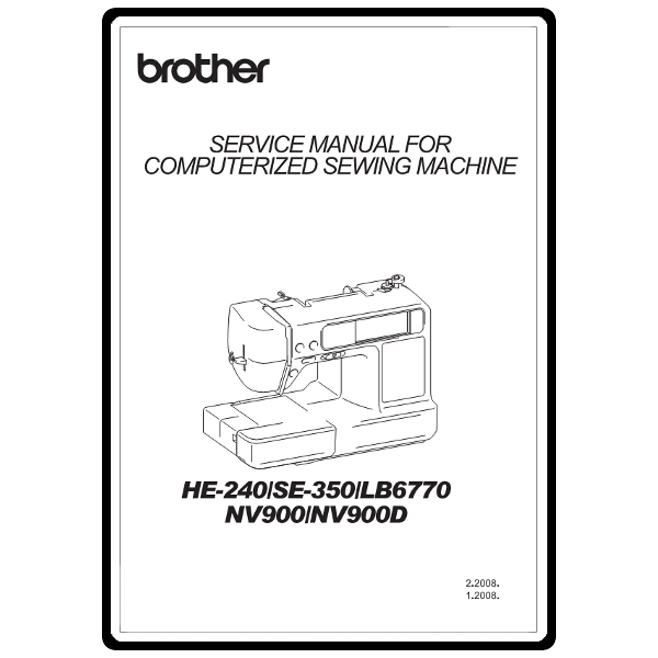 Brother se400 sewing machine service manual plus parts.