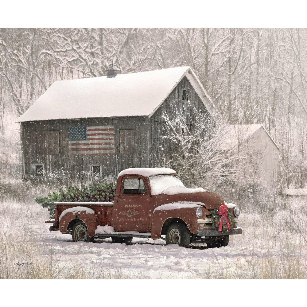 Riley Blake Designs, Christmas Memories Tree Farm Truck Fabric Panel