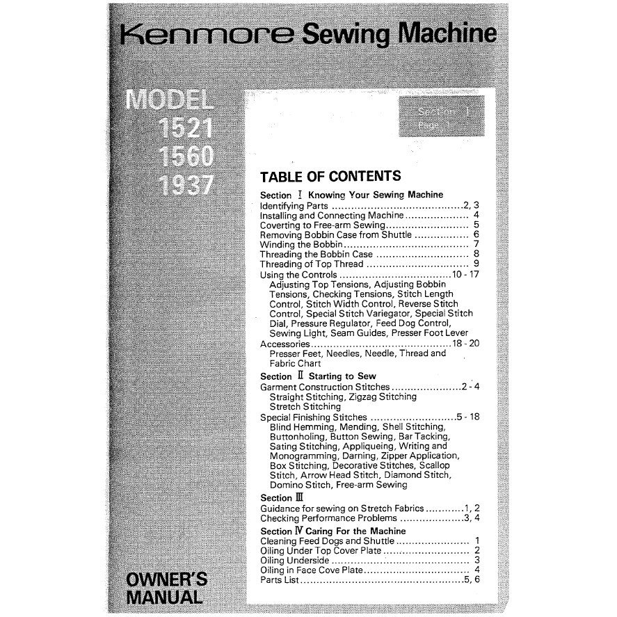 Instruction Manual Kenmore 14815600 Sewing Parts Online Machine Diagram