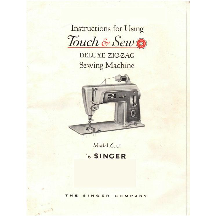 Printed singer 600 touch and sew sewing machine manual with chain.